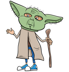 Boy in master yoda costume at halloween party vector