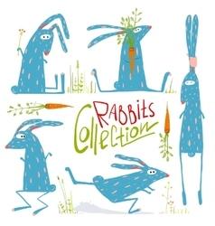 Brightly colored fun cartoon rabbits animals vector