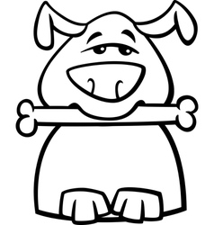 busy dog cartoon coloring page vector image