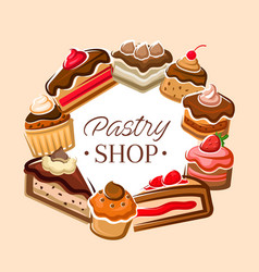 Cakes and cupcakes pastry sweets confectionery vector