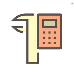 Calculator and vernier caliper icon design vector