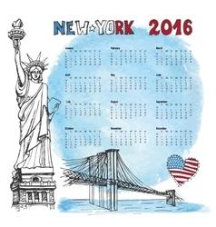 Calendar 2016 yearNew york doodleWatercolor vector image