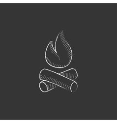 Campfire Drawn in chalk icon vector image