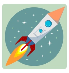 Cartoon flying rocket with porthole and flames in vector