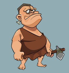 cartoon man in stone age man dress with a stone ax vector image