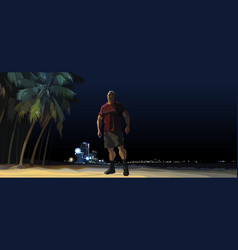 Cartoon muscular man standing at night on a city vector