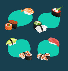cartoon sushi types stickers set vector image