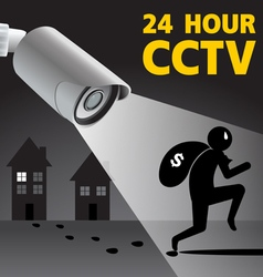 CCTV Security Camera capture robber man Il vector
