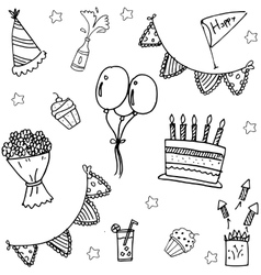 childrens party doodle art vector image