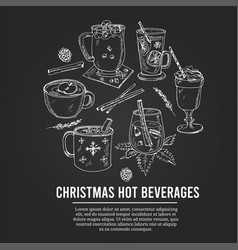 christmas hot beverages set with food and vector image