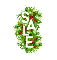 Christmas sale banner with fir and holly vector