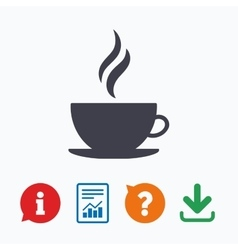 coffee cup sign icon hot button vector image