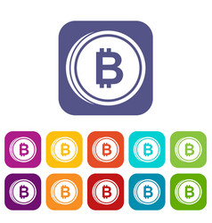 Coin bat icons set vector