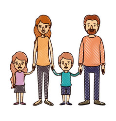 Color crayon stripe cartoon family group with vector