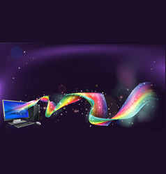 Computer rainbow background vector