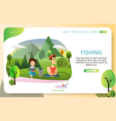 couple fishing landing page website vector image
