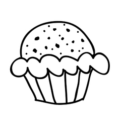 Cupcake doodle icon image vector