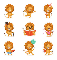 cute lion character character doing different vector image