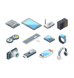 Different electronic gadgets collection isometric vector