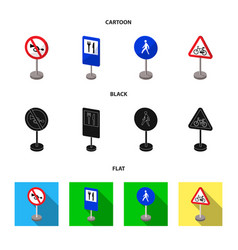 Different types of road signs cartoonblackflat vector