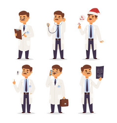 doctor nurse character medical man staff vector image