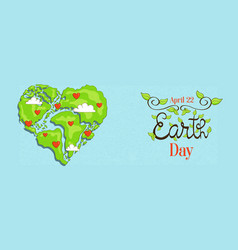 earth day banner world map in heart shape vector image