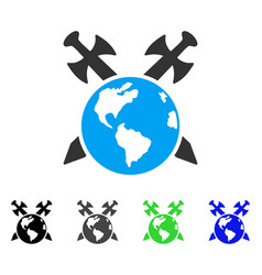Earth swords flat icon vector