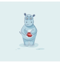 Emoji character cartoon Hippopotamus nervous with vector