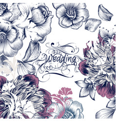 floral wedding invitation card save the date vector image