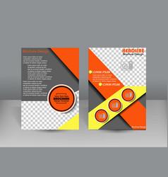 Flyer design orange and gray color vector