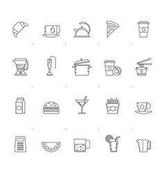 food drink and kitchen equipment icons 2 vector image