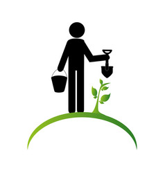 gardener silhouette isolated icon vector image