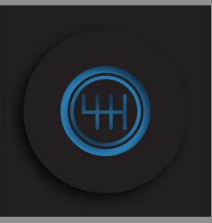 Gearbox lever icon in neomorphism style on dark vector