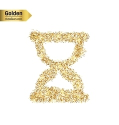 Gold glitter icon of hourglass isolated on vector