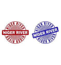 Grunge niger river scratched round stamps vector