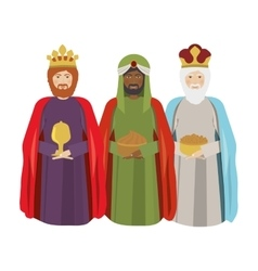Half body wise men with gifts vector