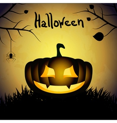 Halloween background with silhouette of pumpkin vector image
