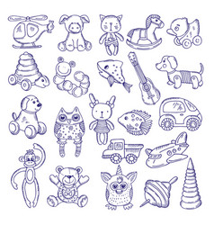 hand drawn doodle toys for kids sketches vector image