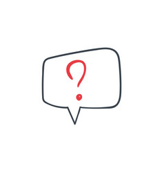 hand drawn question mark in a speech bubble icon vector image