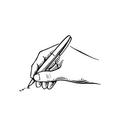 hand holding pen writing vector image