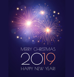 happy new 2019 year background with sparklers and vector image