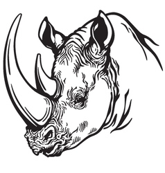 Head of rhino black white vector
