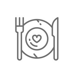 Healthy food plate with fork and knife vector