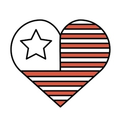 Heart with usa flag icon vector