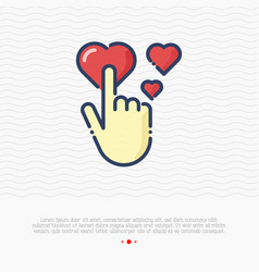 human hand is pushing on red heart love symbol vector image