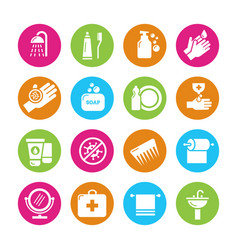 Hygiene viruses and bacterias icons vector
