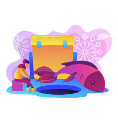 ice fishing concept vector image