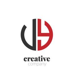 initial letter uy creative elegant circle logo vector image