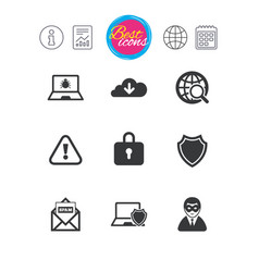Internet privacy icons cyber crime signs vector