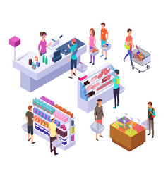 isometric grocery store 3d supermarket interior vector image